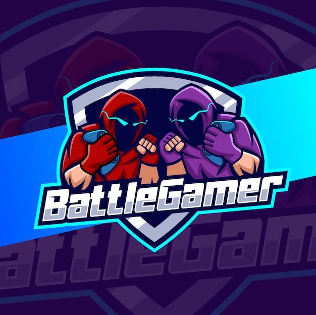 Logotipo de esport de mascota de jugador de batalla
