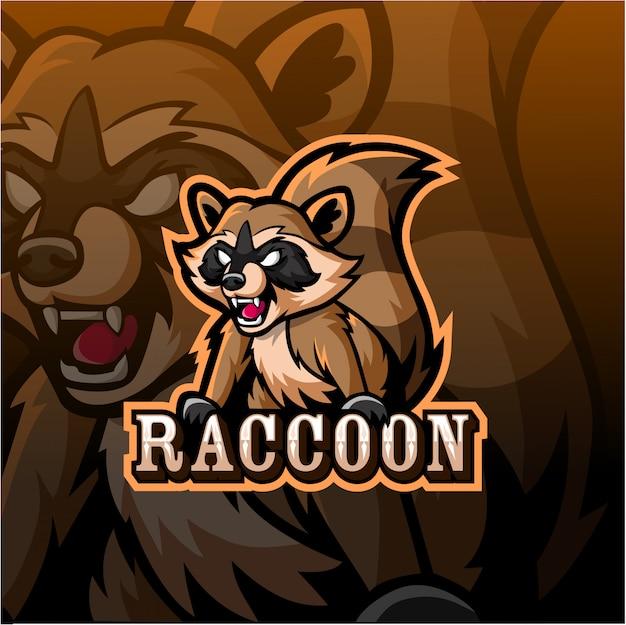 Logotipo de esport de mascota de mapache