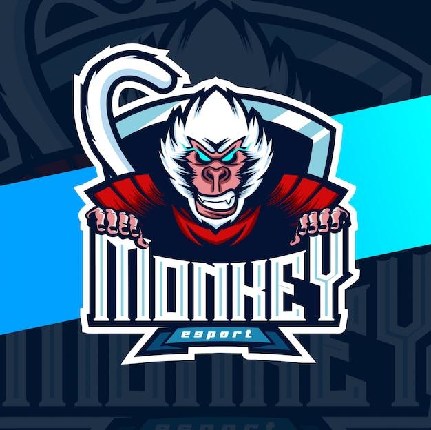 Logotipo de esport mascota mono blanco