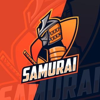 Logotipo de esport mascota de samurai