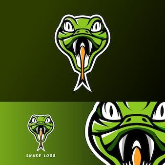 Logotipo de esport de la mascota de la serpiente verde víbora pioson para el equipo de juego de escuadrón
