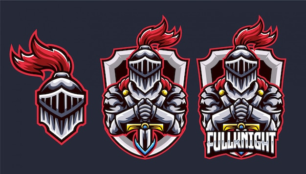 Logotipo de esports de knight head y sword