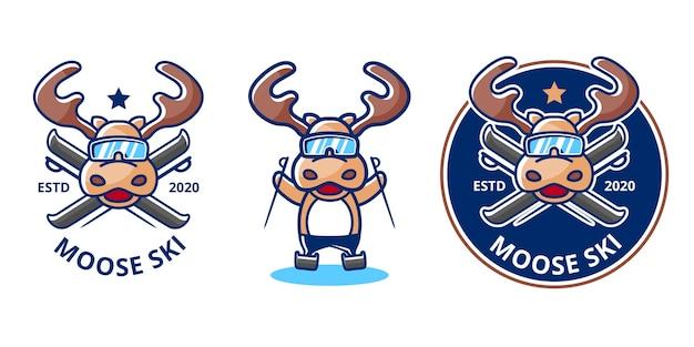Logotipo de esquí de alces en invierno