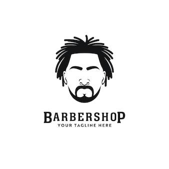 Logotipo de estilista de peluquería afroamericana de rastas