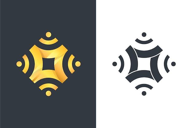 Logotipo de estilo abstracto en dos versiones.