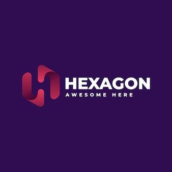 Logotipo de estilo colorido degradado hexagonal