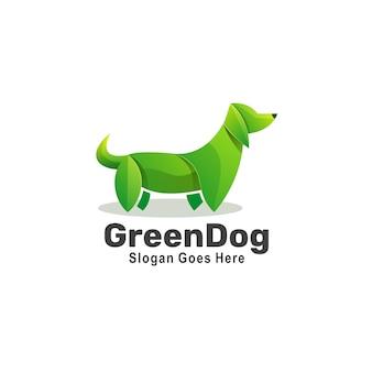 Logotipo de estilo colorido degradado de perro verde.