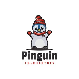 Logotipo de estilo de dibujos animados de mascota de pingüino