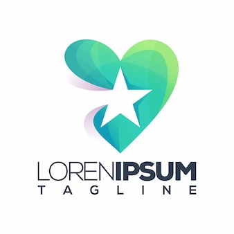 Logotipo de la estrella del amor premium