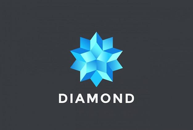 Logotipo de estrella azul diamante.