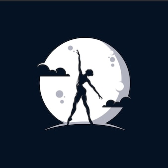 Logotipo para un estudio de ballet o danza en la luna.