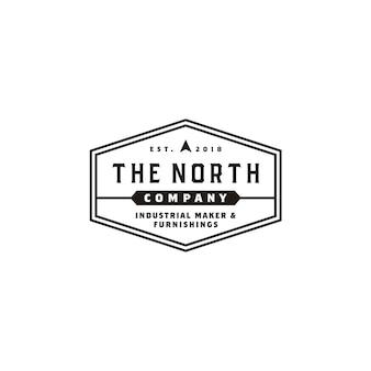Logotipo de la etiqueta de la empresa comercial hexagon vintage