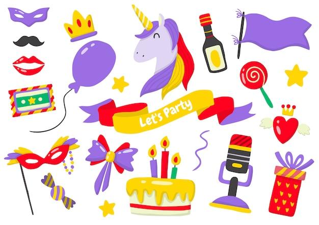 Logotipo de etiqueta de fiesta para pancarta, póster, folleto