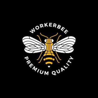 Logotipo de etiqueta de placa redonda de abeja