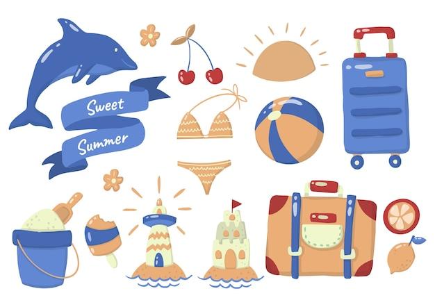 Logotipo de etiqueta de verano para pancarta, póster, folleto
