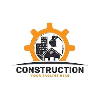 Logotipo de excavadora y construcción con edificios.