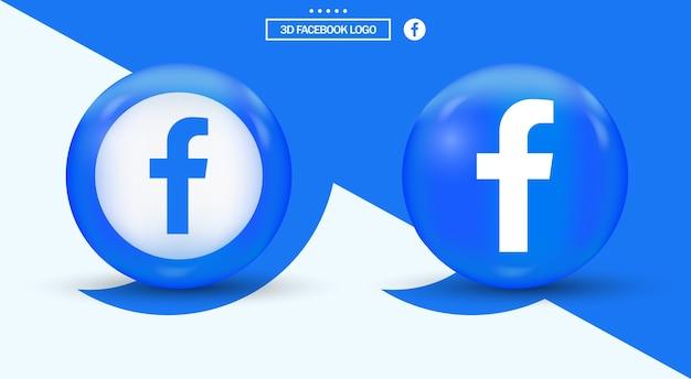 Logotipo de facebook en círculo logotipo de redes sociales de estilo moderno