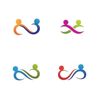 Logotipo de la familia y la comunidad de personas infinitas.