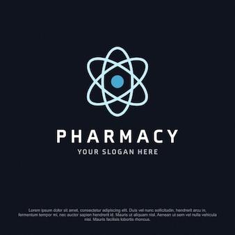 Logotipo de farmacia con una átomo