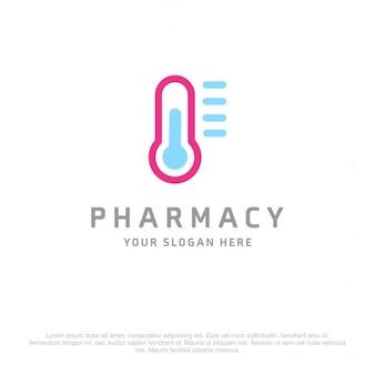Logotipo farmacia azul y rosa