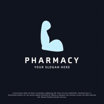 Logotipo de farmacia con un brazo fuerte