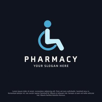 Logotipo de farmacia con una persona en silla de ruedas