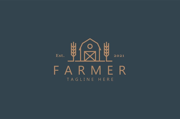 Logotipo de farmer premium con trigo