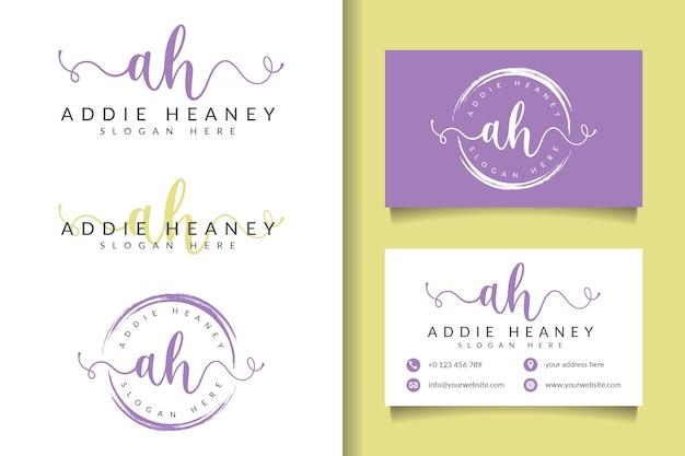 Logotipo femenino ah inicial y plantilla de tarjeta de visita