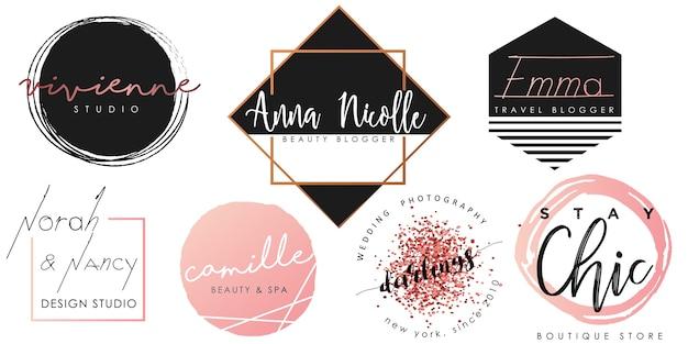 Logotipo femenino engastado en negro, rosa y dorado