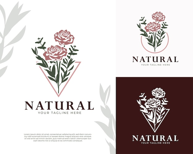 Logotipo femenino de flor rosa natural