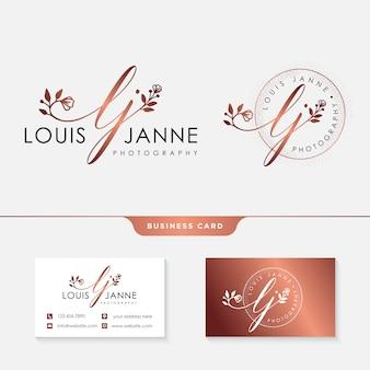 Logotipo femenino para fotógrafos con plantilla de tarjeta de visita