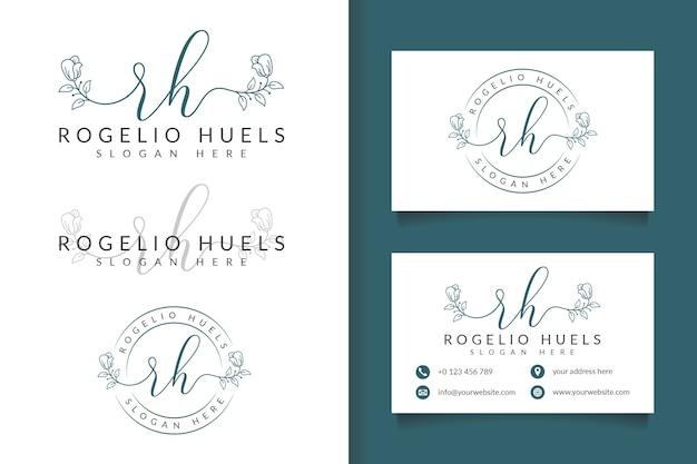 Logotipo femenino inicial rh y plantilla de tarjeta de visita