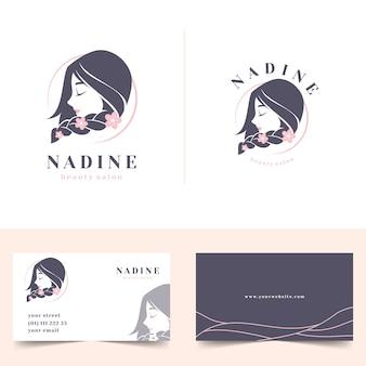 Logotipo femenino de salón de belleza con tarjeta de visita de papelería