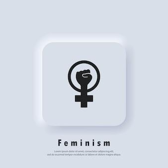 Logotipo feminista. icono de poder femenino. mano de mujer con puño. símbolo del contorno del icono del movimiento feminista. vector. icono de interfaz de usuario. botón web de interfaz de usuario blanco neumorphic ui ux. neumorfismo