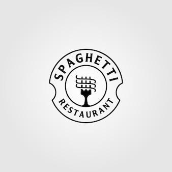 Logotipo de fideos instantáneos de pasta de espagueti vintage