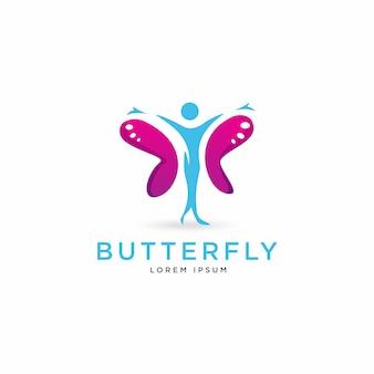 Logotipo de la figura humana mariposa