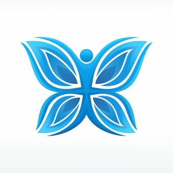 Logotipo de la figura humana de mariposa