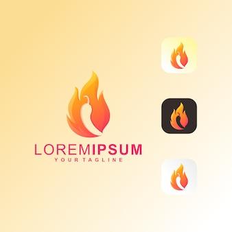 Logotipo de fire chili premium