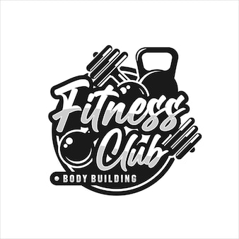 Logotipo de fitness club body building premium
