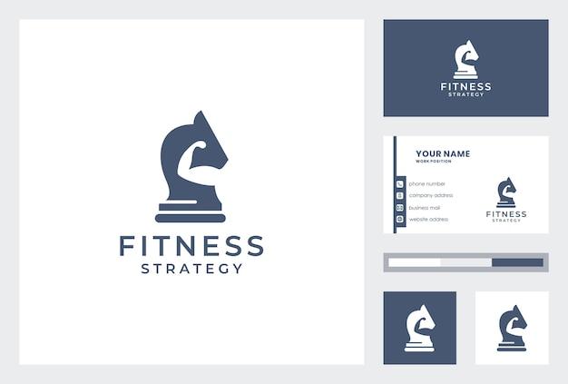 Logotipo de fitness creativo con plantilla de tarjeta de visita.