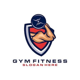 Logotipo de fitness con mano musculosa sosteniendo mancuernas