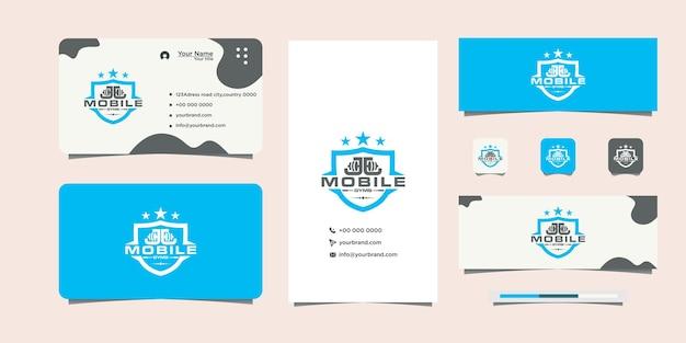 Logotipo de fitness de seguridad deportiva y tarjeta de visita.