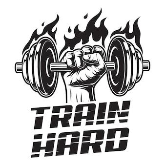 Logotipo de fitness vintage con mano de hombre fuerte con mancuerna ardiente