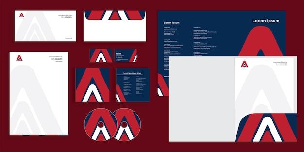 Logotipo de flecha abstracta letra a logotipo moderno identidad empresarial corporativa estacionaria
