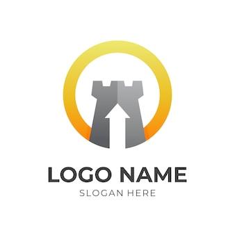 Logotipo de la flecha del castillo, castillo y flecha, logotipo combinado con estilo de color amarillo y plateado 3d