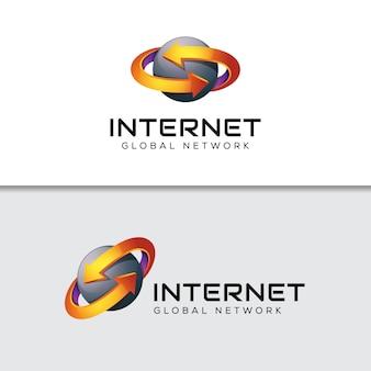 Logotipo de flecha de datos de internet, plantilla de diseño de logotipo logístico global de negocios