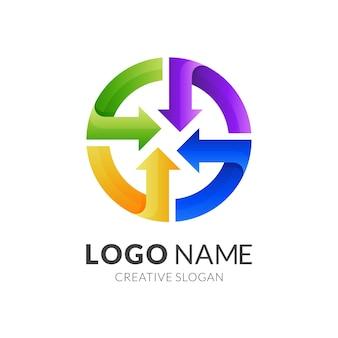 Logotipo de flecha con diseño circular