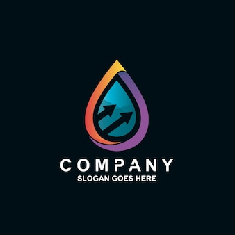 Logotipo de flecha y gota de agua