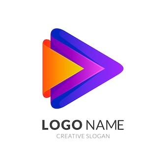 Logotipo de flecha media play, colorido 3d