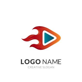 Logotipo de flecha rápida con movimiento de fuego